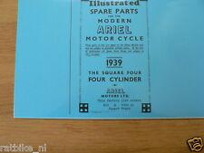 A0206 ARIEL---SPARE PARTS LIST---600cc + 1000cc SQUARE FOUR CYLINDER PHOTOCOPY