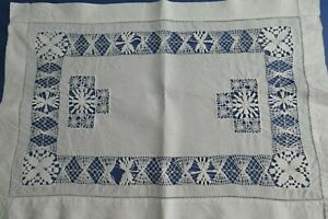 Vintage White Linen Tray Cloth, Table Mat - Teneriffe Lace, Reticella Lace