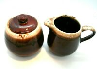 McCoy Brown Drip Pottery Creamer and Sugar with Lid
