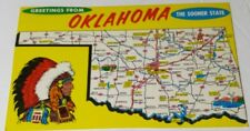 Vintage 1960s postcard GREETINGS FROM OKLAHOMA state map large Indian Chief
