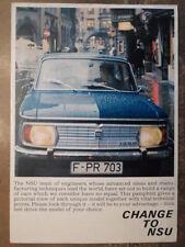 NSU RANGE orig 1967 UK Mkt Sales Brochure - Prinz 4 4L Sport Coupe Spider 1200TT