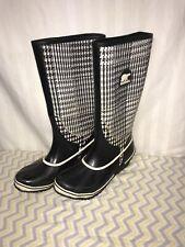 Sorel Women's Sorellington Rain Boots Tall White  Black Tweed Size 8 VGUC