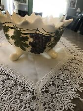 Large Footed Vintage Candy Dish Nut Bowl Fruit With Grapes
