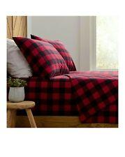 Twin size Buffalo Plaid Heavyweight Flannel Sheet Set 3 Pc Homegrown Red Black
