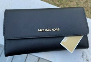 MICHAEL KORS JET SET TRAVEL LARGE TRIFOLD LEATHER WALLET Black / Gold