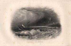 1858 BRITISH EMPIRE INDIA PRINT ~ CALCUTTA ~ THE MOONSOON SEA STORM SHIP WRECK