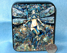 Russian UNIQUE HAND PAINTED SHELL Paper LACQUER Trinket Box BLUE MANGA FAIRY ART