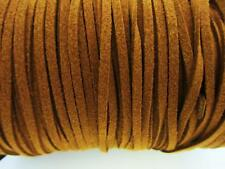 10 yards Genuine Leather Flat Suede Cord 3mm Trim/Sewing/Lace/Craft T163-Brown