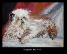 TABLEAU ORIGINAL CHAT PERSAN AU REPOS 61*46