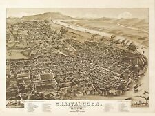 MAP CHATTANOOGA TENNESSEE 1886 LARGE WALL ART PRINT POSTER PICTURE LF1996