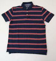 Tommy Hilfiger Poloshirt Polohemd Herren Gr.L blau gestreift Piquè Knopf -S938