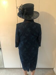 Mother of the Bride Outfit size18 Dress,Jacket and Matching Hat in Navy