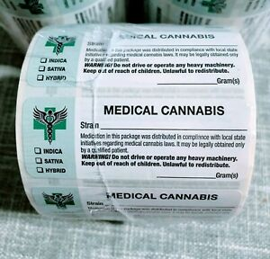 "Medical Cannabis Strain Label 3""x1"" White Label 1000 Stickers NEW Free Shipping"