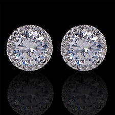 CH Women's 18K White Gold Plated Crystal Zircon Inlaid Ear Stud Earrings Jewelry