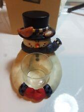 Frosted Friend Porcelain Snowman Votive Holder