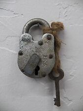 Antique Vintage RUSTIC 40MM Aligarh India Bank Lock Padlock w/Skeleton Key