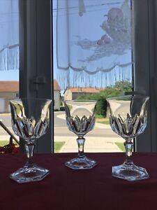 3 verres à vin rouge cristal d'Arques modèle CHAUMONT