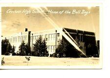 Crockett High School Building-Texas-1941 RPPC-Vintage Real Photo Postcard