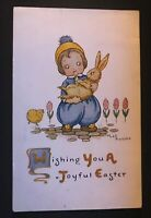 Little Girl Holding Bunny Rabbit~Flowers~Antique ~Easter Postcard--s157