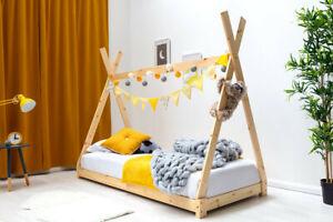 Kids Childrens White or Pine Wooden Tent Bed 3FT Single Bed Frame    BSD