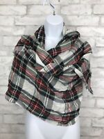 Naturally Knotted Merino Wool Blend Shawl Scarf Wrap White Green Tartan 78X29""