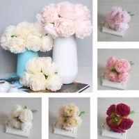 5Heads Artificial Fake Peony Silk Flower Bridal Bouquet Hydrangea Home Wedding-