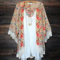 Vintage Women Floral Lace Kimono Cardigan Chiffon Blouse Casual Long Sleeve Tops