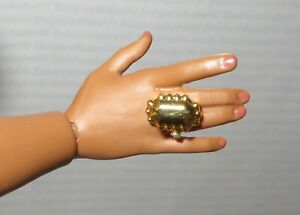 JEWELRY ~ (GR) BARBIE DOLL LOOK NIGHTTIME GLAMOUR RECTANGLE GOLD ACCESSORY RING