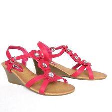 Riemchen Sandaletten 40 Rosa Pink Wedges Pumps High Heels Sandalen 5976-KL Neu