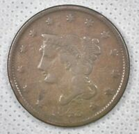 1843 BRAIDED HAIR COPPER LARGE CENT PETITE HEAD, SMALL LETTERS COLLECTOR COIN