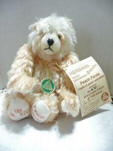 Hermann Artistline Peach Panda Peach & White  Mohair Bear No.670  Germany