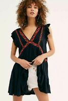 Free People Garden Party Tunic Dress S Embroidered Ruffle Flared Mini NEW 15739