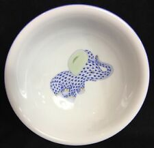 "Herend Fishnet Blue Baby Elephant Childs Bowl Soup 6 3/4"" Hand Painted New"
