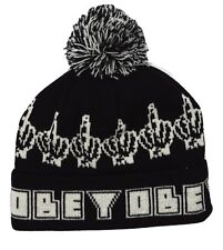 "OBEY Clothing ""Bird"" Knit Pom Pom Winter Beanie Black Hat One Size Fits Most"