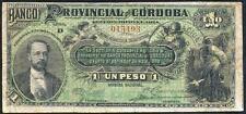 ARGENTINA NOTE BANCO PROVINCIAL DE CORDOBA 1 UN PESO 1889 SERIAL D Pick# S741