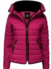 Womens Pink Quilted Padded Puffer Bubble Fur Collar Warm Thick Jacket Coat 8 -14