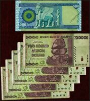 5 x 200 Million Zimbabwe Dollars Banknotes + 1 x 500 Iraq Dinar Iraqi Dinars IQD