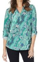 W LANE Top Plus Size 14 16 18 Green Mint Paisley Floral Roll Tab Sleeve Blouse