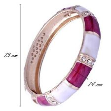 Fashion womens crystal red white enamel bangle 18k Gold filled bracelet cuff