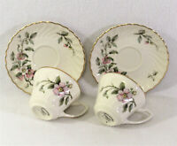 Syracuse China Apple Blossom 2 Cups And Saucers Swirl Rim Gold Trim