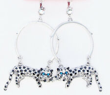 Betsey Johnson WHITEOUT Snow Leopard Silver-Tone Hoop Drop Earrings