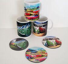 "11oz Ceramic Mugs VW Vans ""The many faces of Volkswagons"" 3 Mug Set + 3 Coasters"