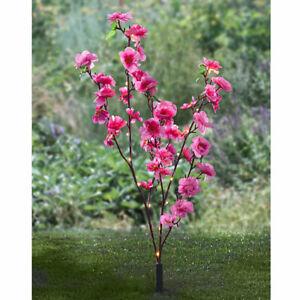 Solar LED Blüten Strauch, rosa, 90 cm hoch, Garten Deko Kunst Blumen Ast Zweig