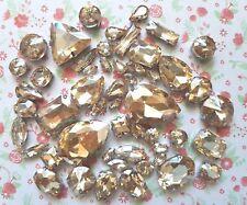50pcs Mixed Sew On Champagne Crystal Glass Diamante Claw Set Rhinestone Gems