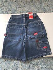 Vintage JNCO Jean Cargo Shorts Blue Stitched Logo Men's waist 28 NWT