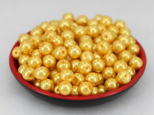 New Glass Pearl Round Spacer Loose Beads 8mm/50pcs yellow