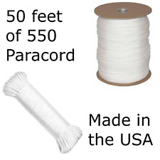 50 Feet of 550 Paracord Type III Nylon Parachute Cord Utility Cord White