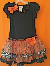 Bonnie Jean Size 5 Girls Orange Black Halloween Bow Dress costume