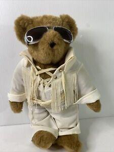 "Elvis Plush White Poly Jumpsuit Sunglasses 17"" The Vermont Teddy Bear Co"