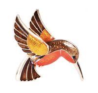 Vtg Style Gold Tone Enamel Hummingbird Bird Lover Brooch Pin Jewellery Gift